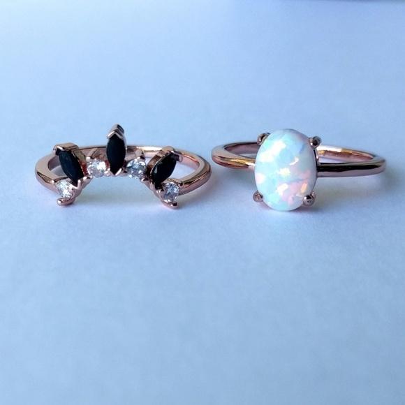 8f7cae36931a1 18k rose gold vermeil opal stacking ring set
